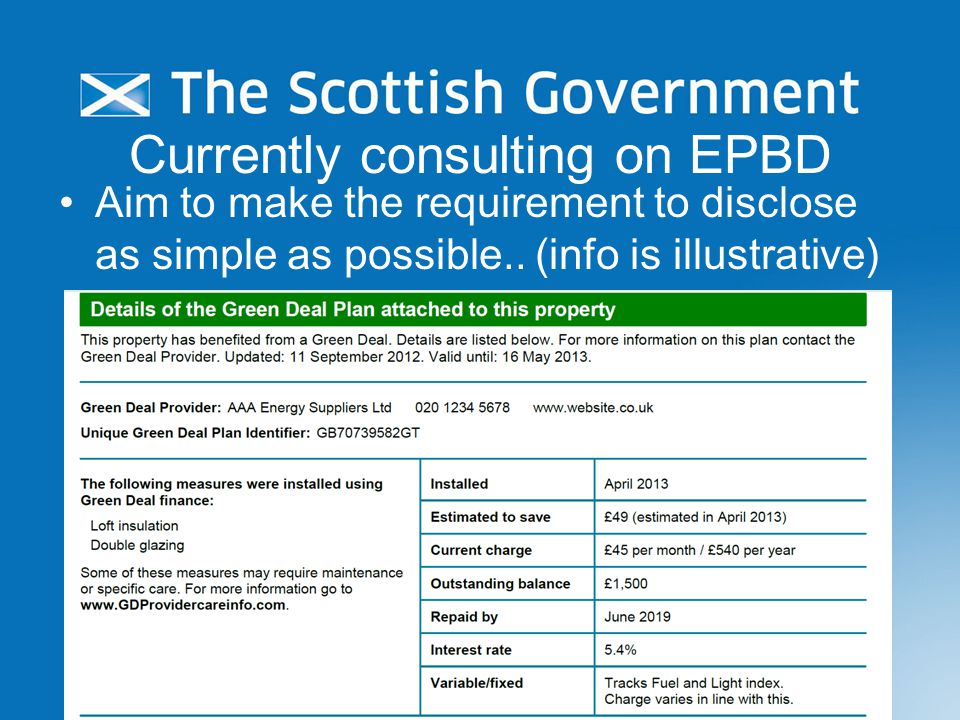 Currently consulting on EPBD Aim to make the requirement to disclose as simple as possible..