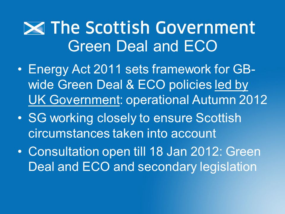 How will Green Deal work in Scotland.