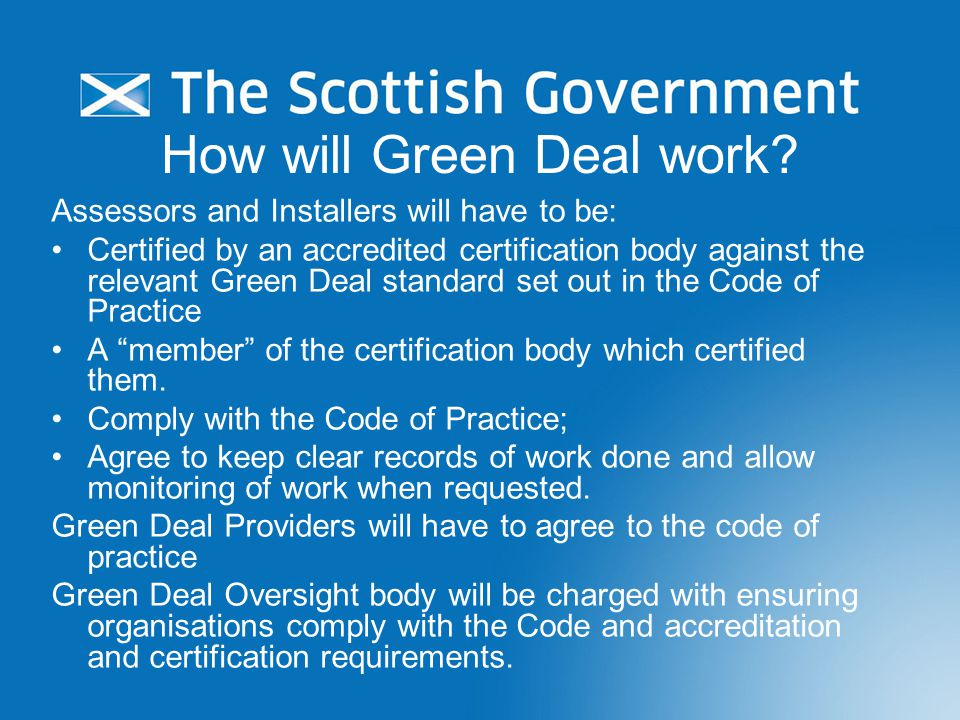 How will Green Deal work.