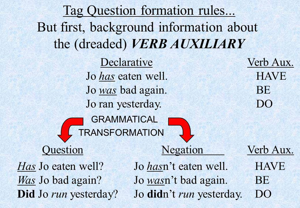 Tag Question formation rules...
