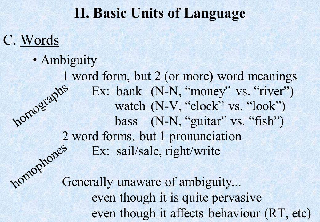 II. Basic Units of Language C.