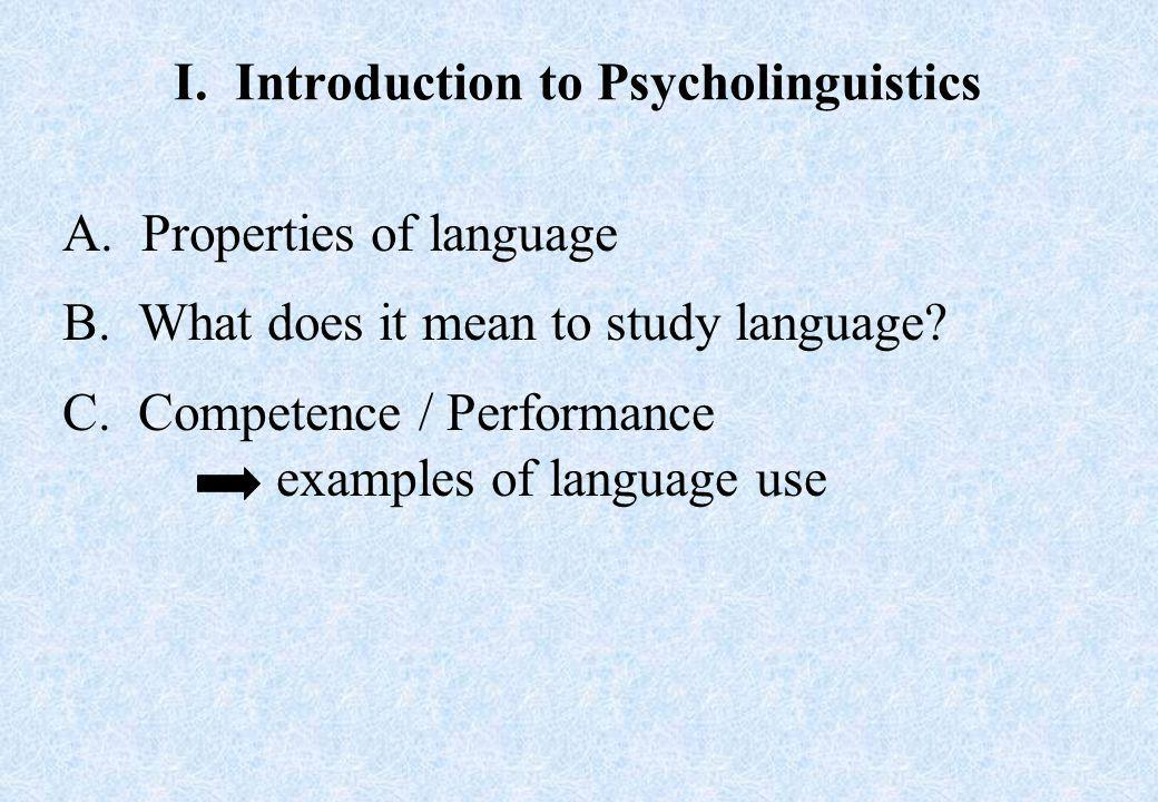 I.Introduction to Psycholinguistics A.