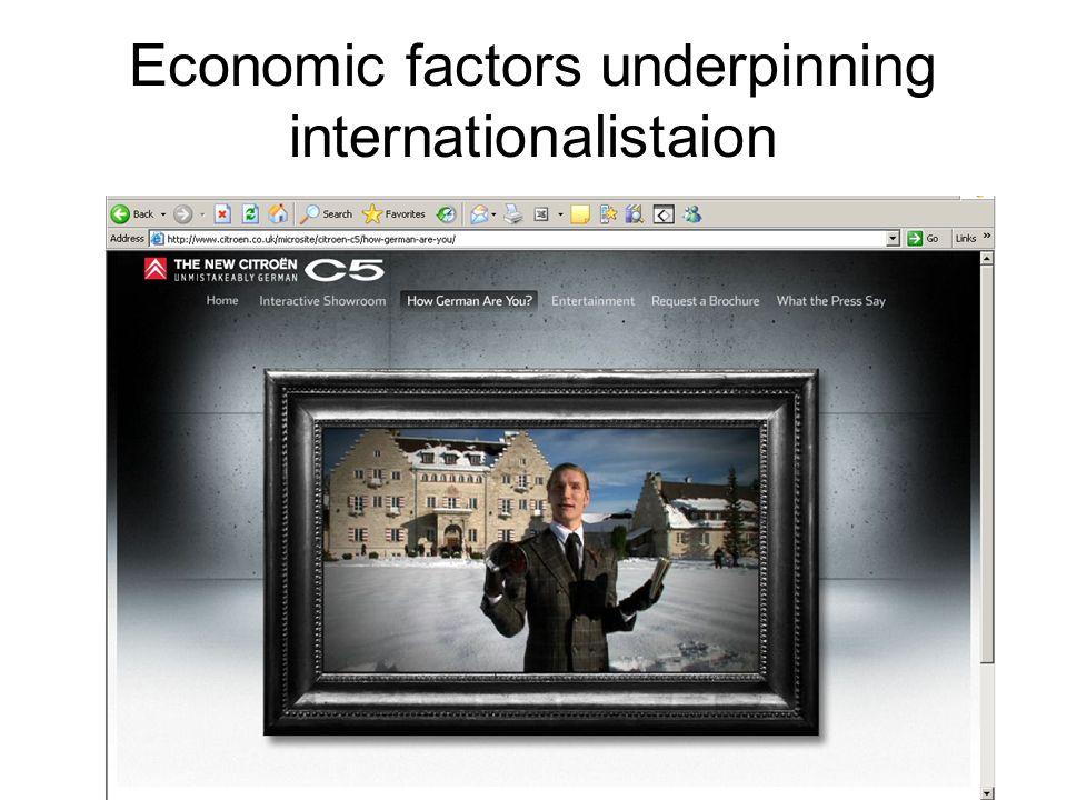 Economic factors underpinning internationalistaion