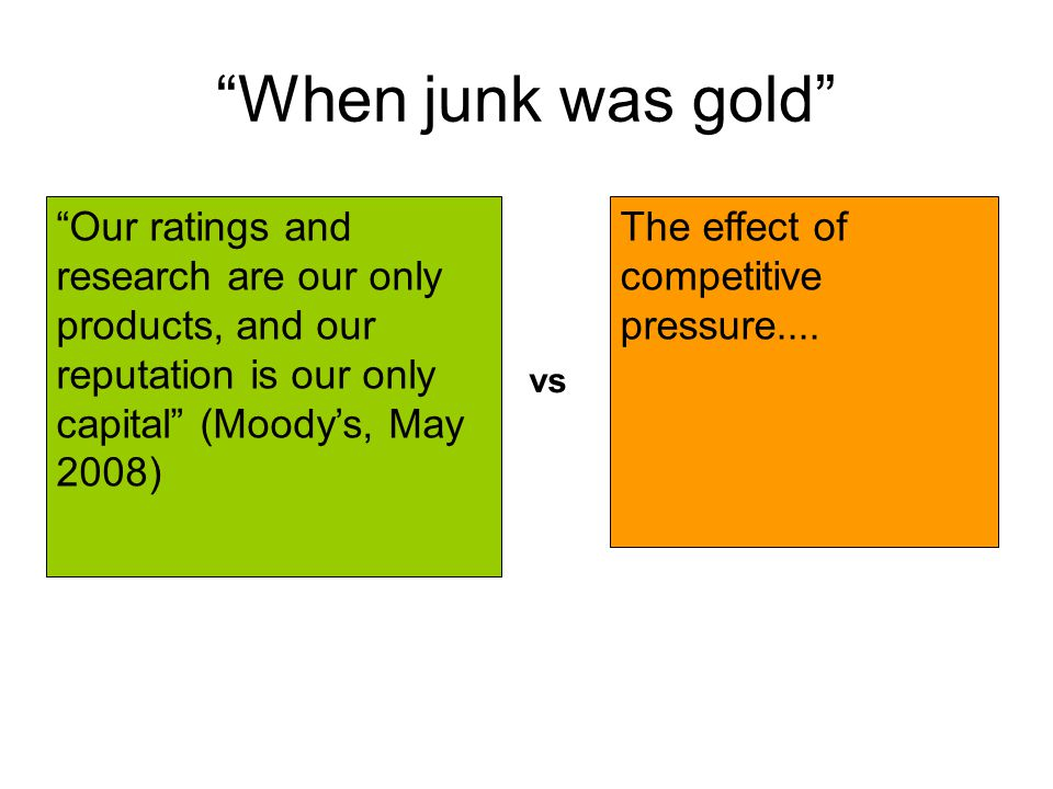 """""""When junk was gold"""" """"Our ratings and research are our only products, and our reputation is our only capital"""" (Moody's, May 2008) The effect of compet"""
