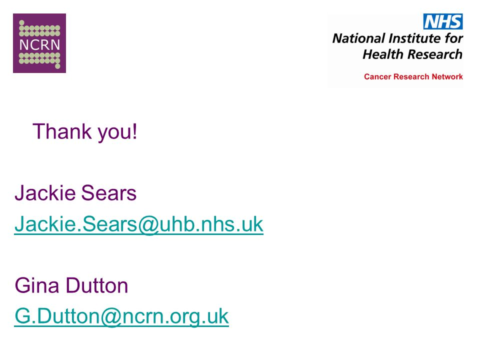 Thank you! Jackie Sears Jackie.Sears@uhb.nhs.uk Gina Dutton G.Dutton@ncrn.org.uk
