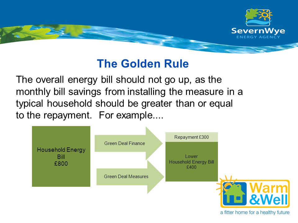 The Golden Rule The overall energy bill should not go up, as the monthly bill savings from installing the measure in a typical household should be gre