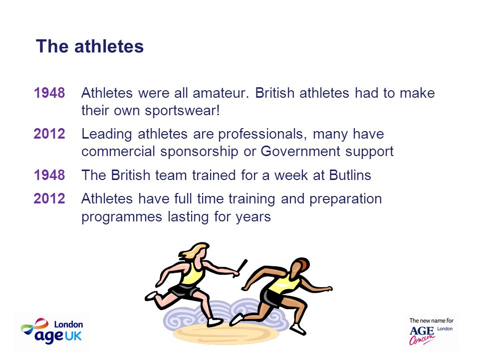 1948Athletes were all amateur. British athletes had to make their own sportswear! 2012 Leading athletes are professionals, many have commercial sponso