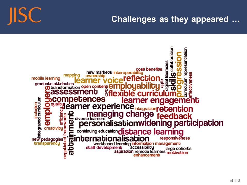 Challenges as they appeared … slide 3