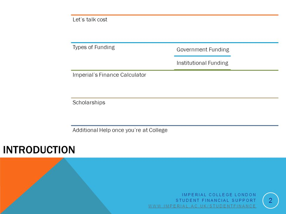 INTRODUCTION 2 Let's talk cost Types of Funding Government Funding Institutional Funding Imperial's Finance Calculator Scholarships Additional Help once you're at College IMPERIAL COLLEGE LONDON STUDENT FINANCIAL SUPPORT WWW.IMPERIAL.AC.UK/STUDENTFINANCE