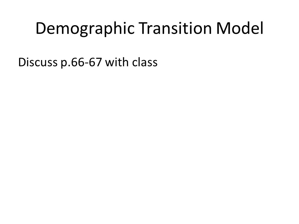 Demographic Transition Model Discuss p.66-67 with class