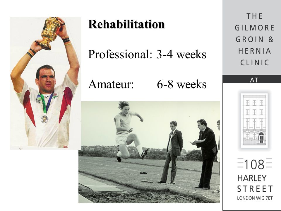 Rehabilitation Professional: 3-4 weeks Amateur: 6-8 weeks