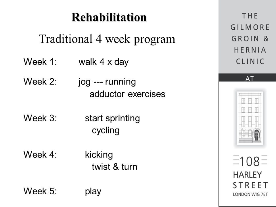 Rehabilitation Traditional 4 week program Week 1:walk 4 x day Week 2:jog --- running adductor exercises Week 3: start sprinting cycling Week 4: kickin