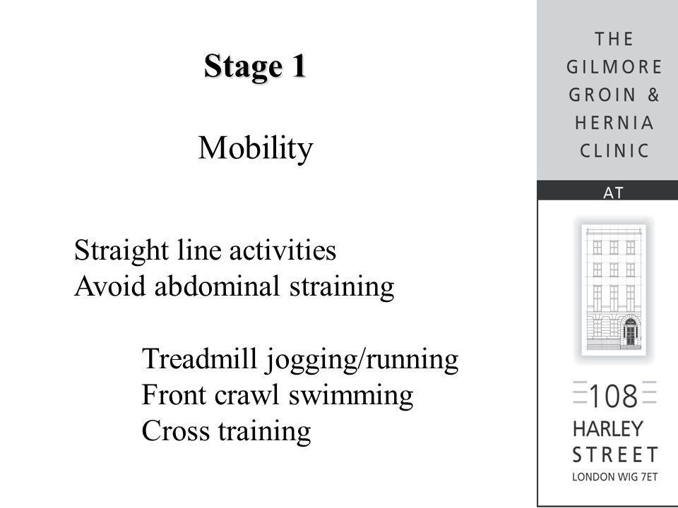Stage 1 Mobility Straight line activities Avoid abdominal straining Treadmill jogging/running Front crawl swimming Cross training
