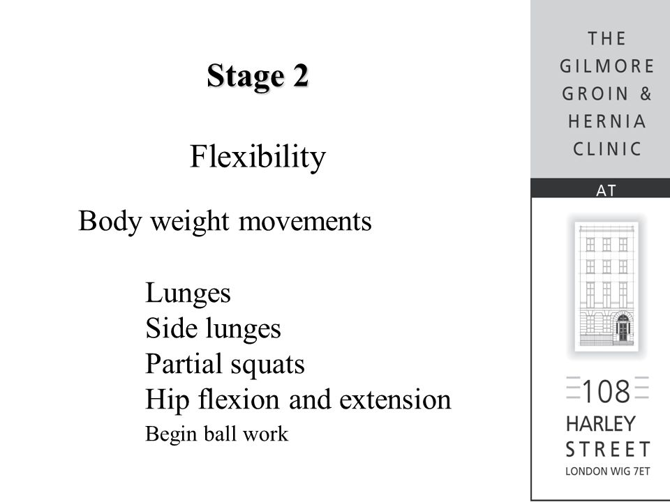 Stage 2 Flexibility Body weight movements Lunges Side lunges Partial squats Hip flexion and extension Begin ball work