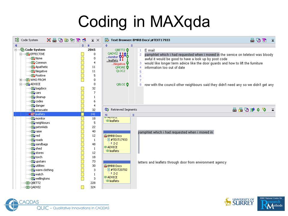 Coding in MAXqda