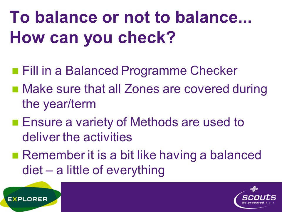 To balance or not to balance... How can you check.