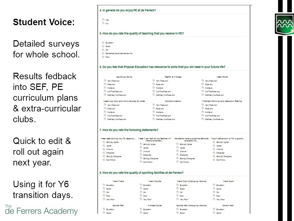 Student Voice: Detailed surveys for whole school.