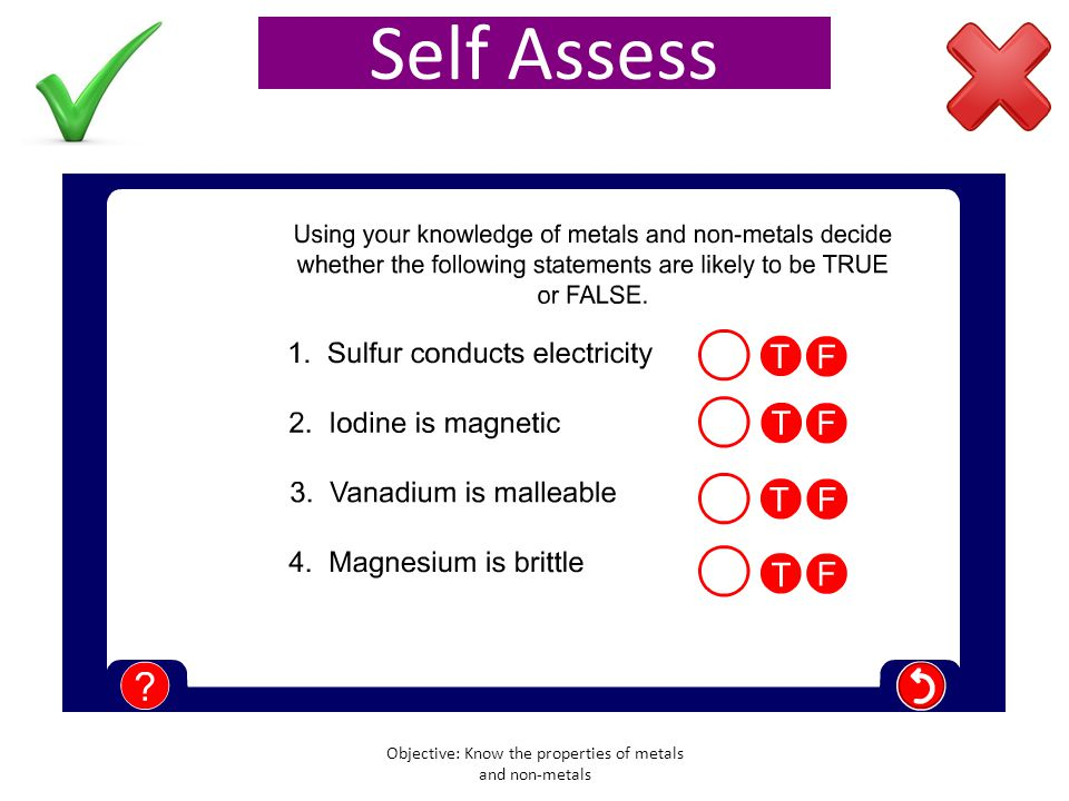 Test yourself Objective: Know the properties of metals and non-metals