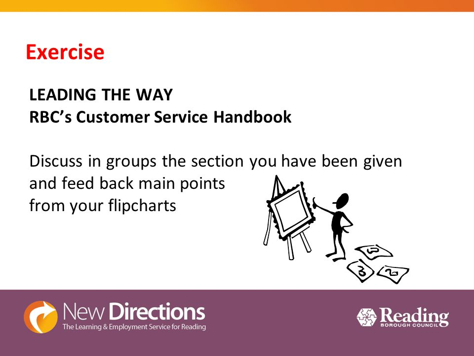 Exercise LEADING THE WAY RBC's Customer Service Handbook Discuss in groups the section you have been given and feed back main points from your flipcharts