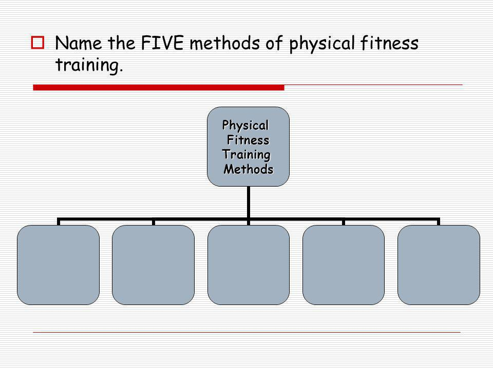  Name the FIVE methods of physical fitness training.PhysicalFitnessTrainingMethods