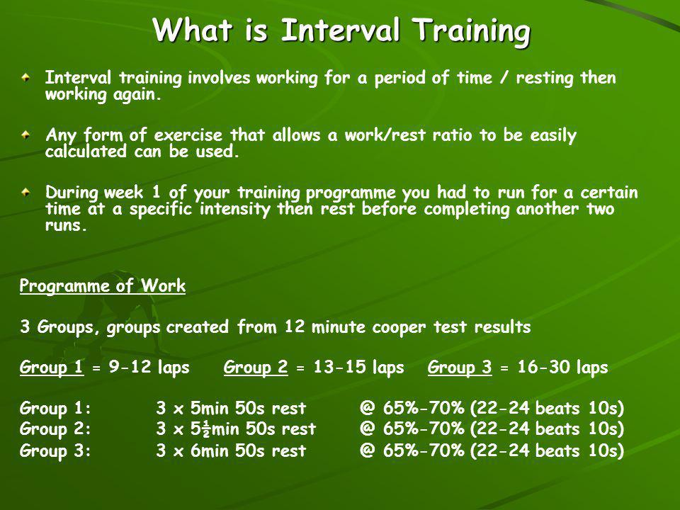 Benefits of Interval training...Allows you to easily focus on a specific aspect of fitness.