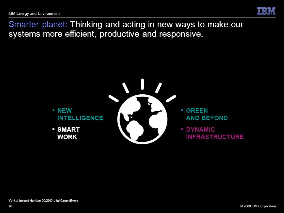 © 2009 IBM Corporation10 Smarter planet: Thinking and acting in new ways to make our systems more efficient, productive and responsive.