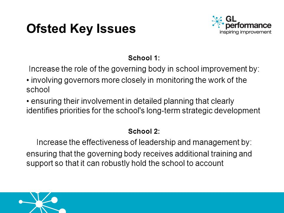 Ofsted Key Issues School 1: Increase the role of the governing body in school improvement by: involving governors more closely in monitoring the work