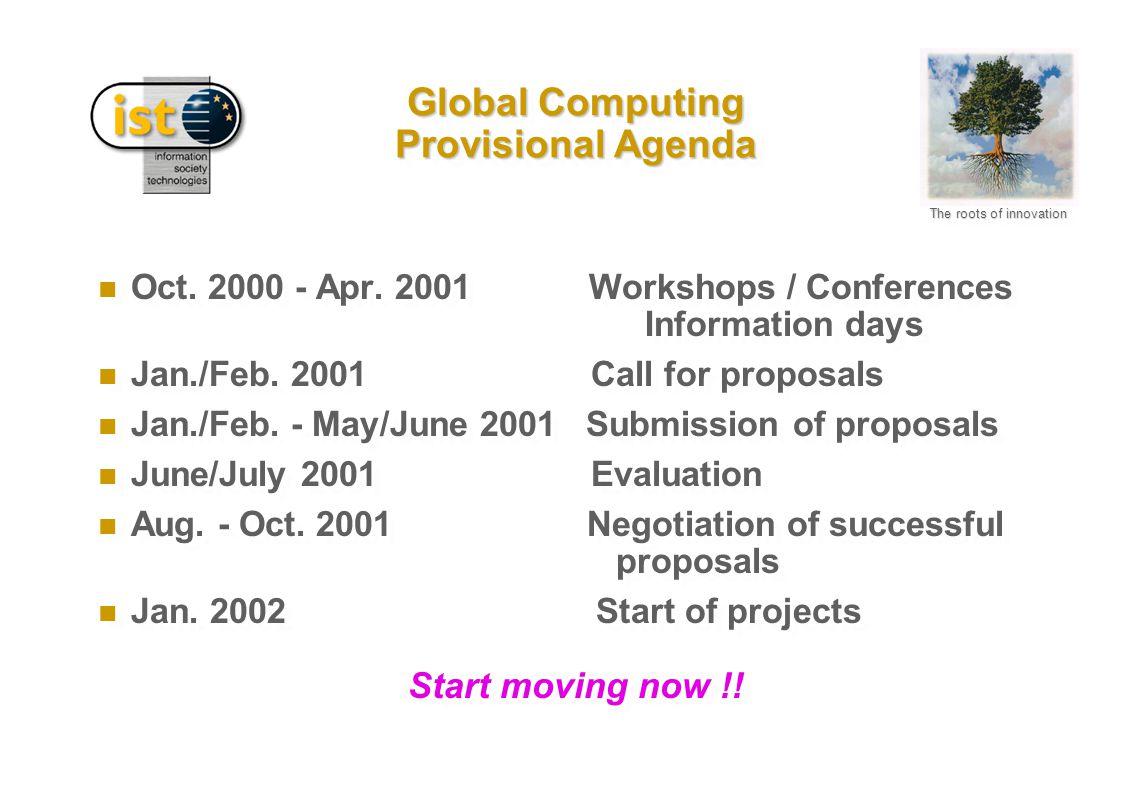 Global Computing Provisional Agenda n Oct. 2000 - Apr. 2001 Workshops / Conferences Information days n Jan./Feb. 2001 Call for proposals n Jan./Feb. -