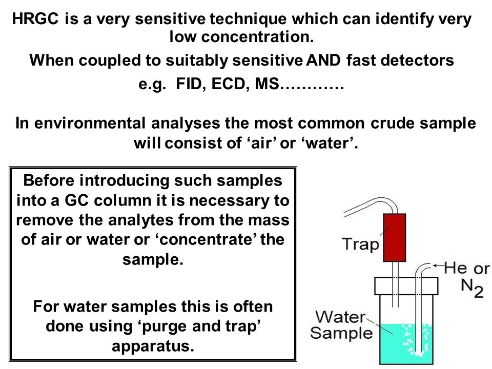 3 Before introducing such samples into a GC column it is necessary to remove the analytes from the mass of air or water or 'concentrate' the sample.