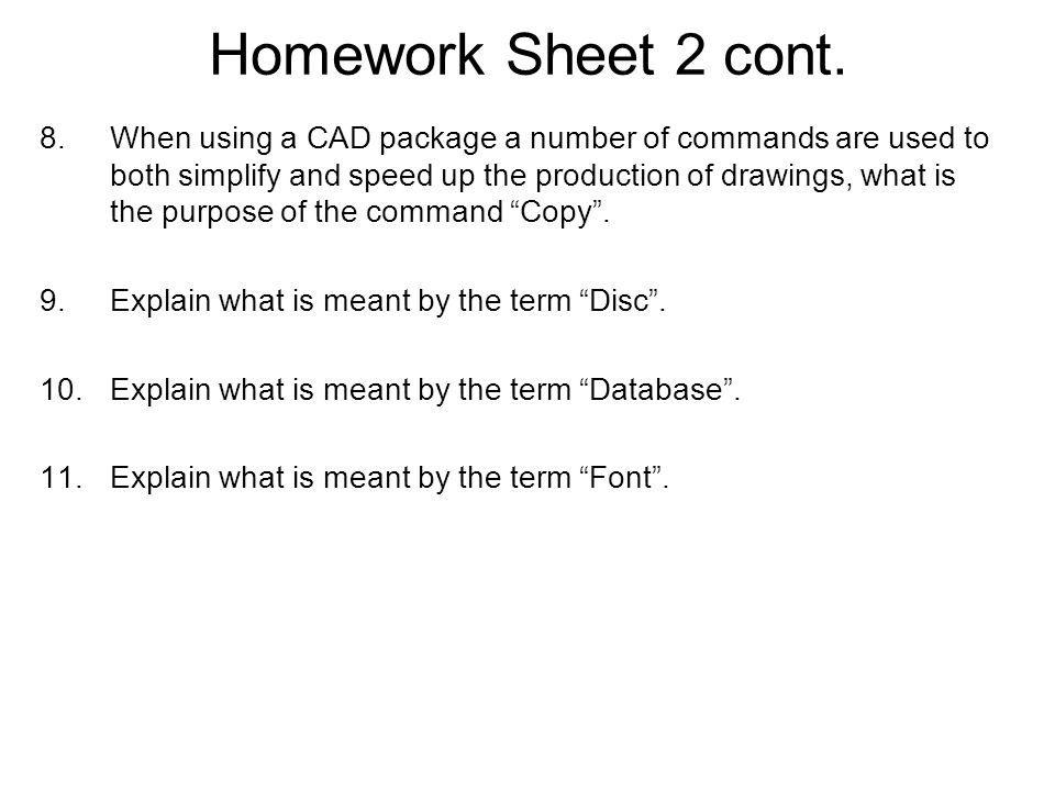 Homework Sheet 5 cont.