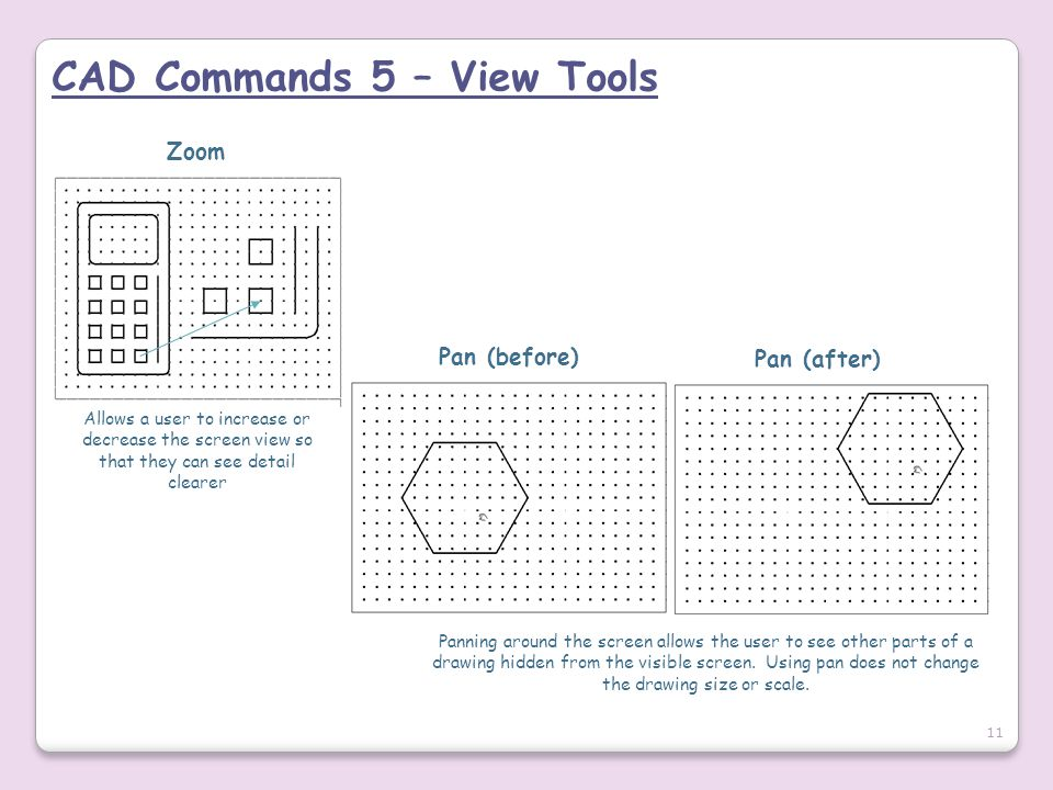 CAD Commands 5 – View Tools Allows a user to increase or decrease the screen view so that they can see detail clearer Zoom Pan (before) Pan (after) Pa