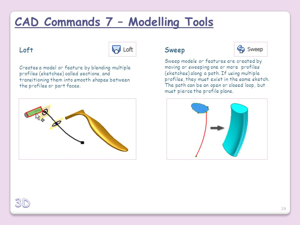 CAD Commands 7 – Modelling Tools Loft Creates a model or feature by blending multiple profiles (sketches) called sections, and transitioning them into