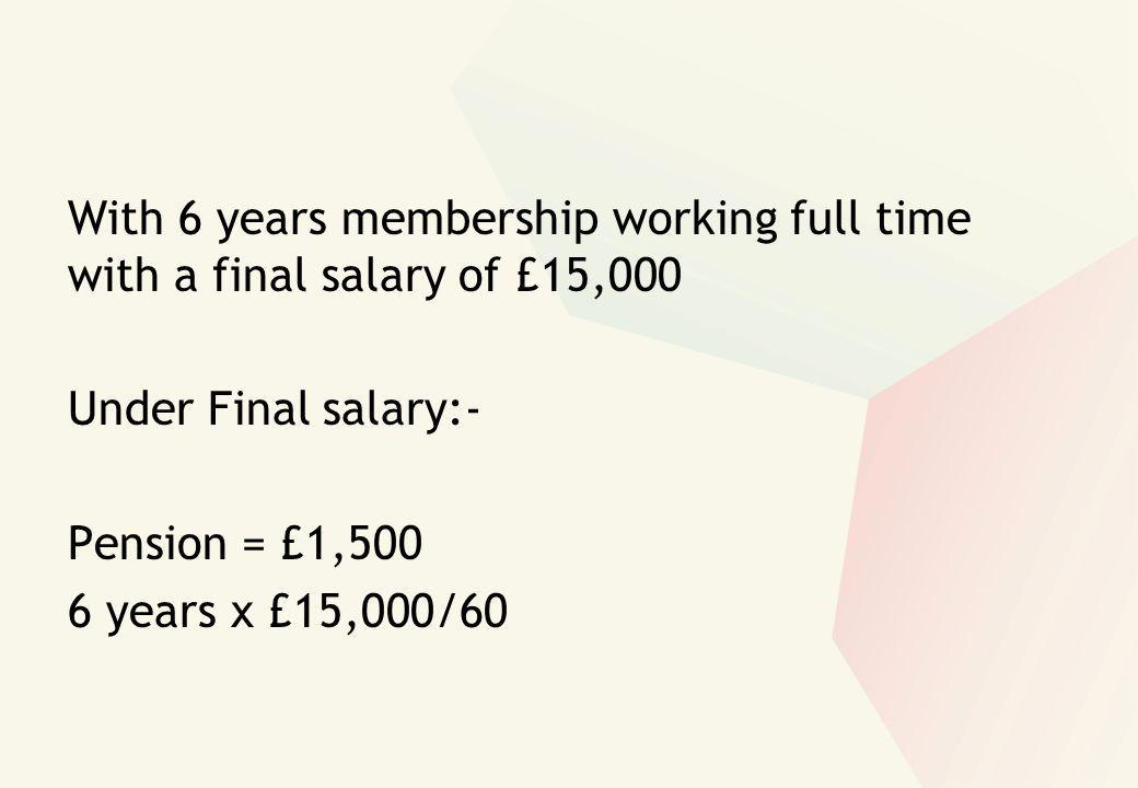 With 6 years membership working full time with a final salary of £15,000 Under Final salary:- Pension = £1,500 6 years x £15,000/60