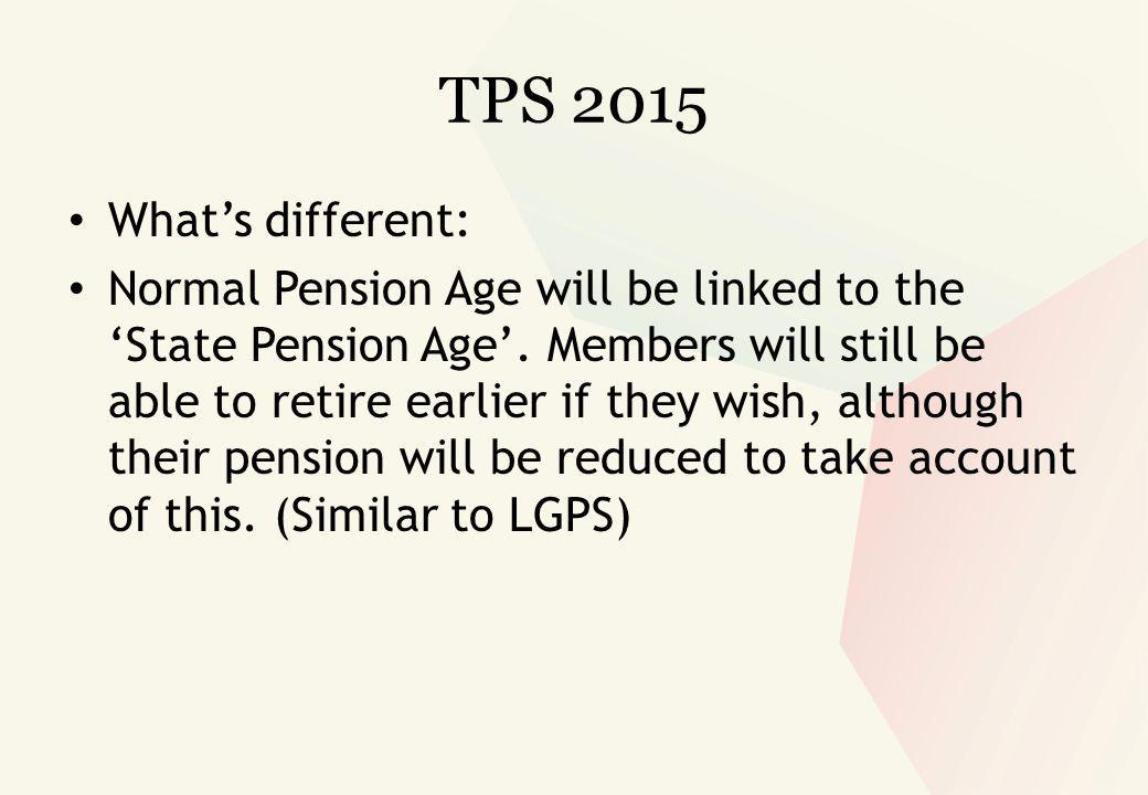 TPS 2015 What's different: Normal Pension Age will be linked to the 'State Pension Age'.