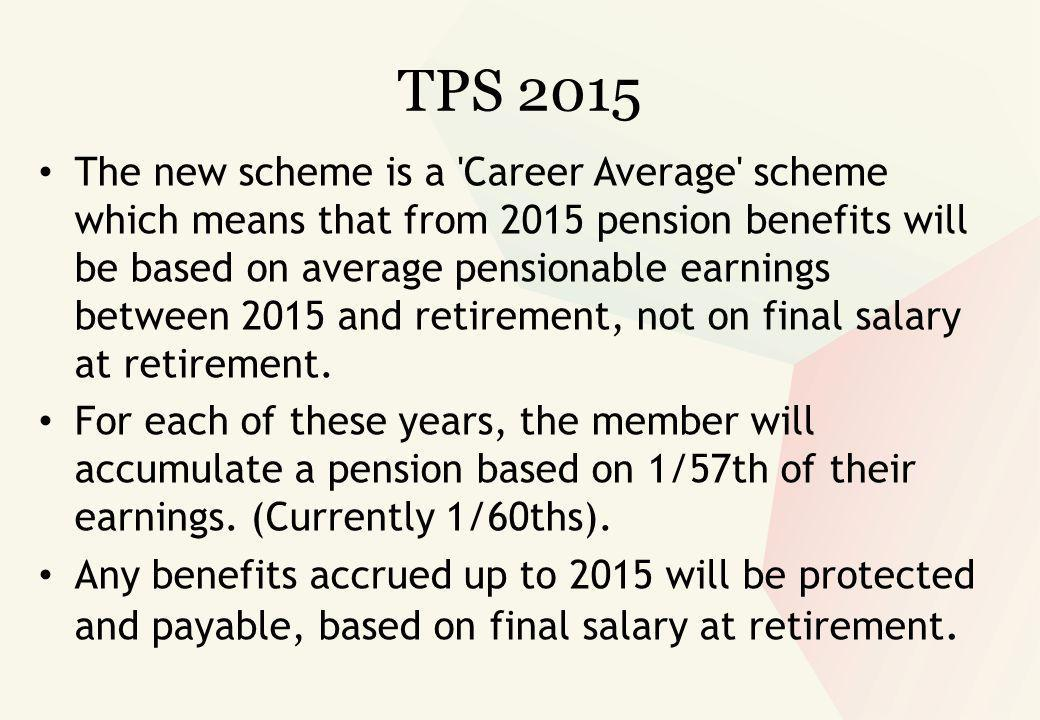 TPS 2015 The new scheme is a Career Average scheme which means that from 2015 pension benefits will be based on average pensionable earnings between 2015 and retirement, not on final salary at retirement.