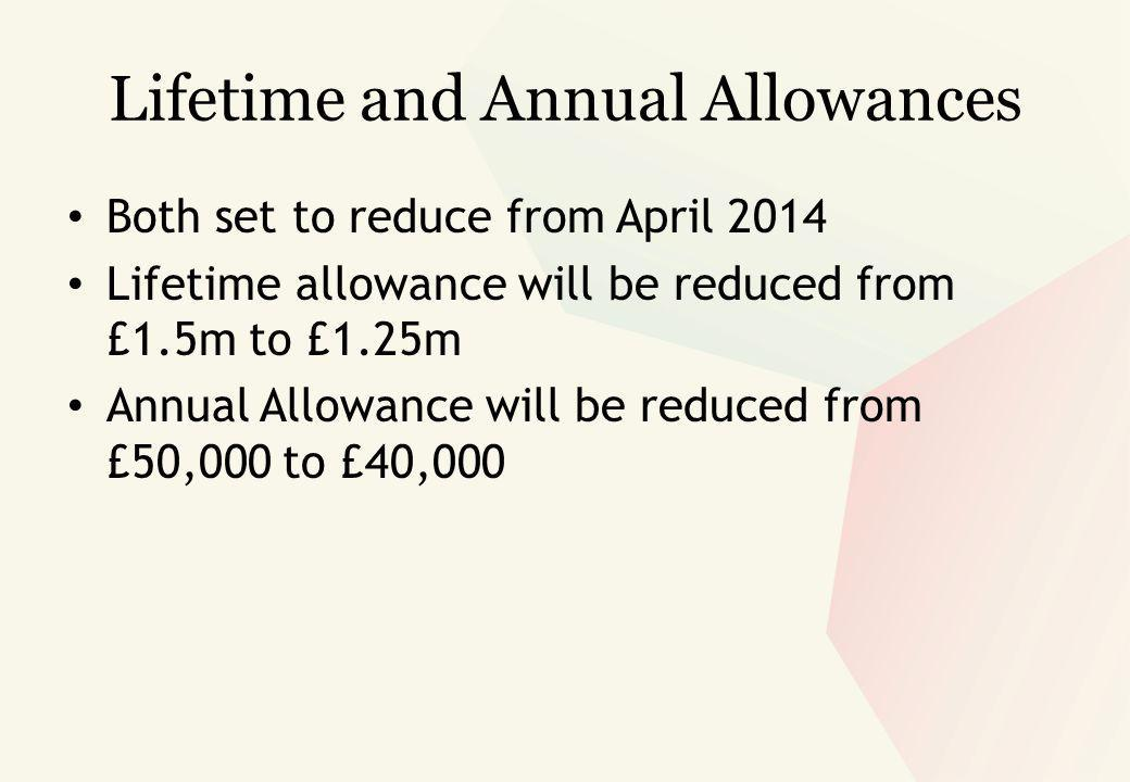 Both set to reduce from April 2014 Lifetime allowance will be reduced from £1.5m to £1.25m Annual Allowance will be reduced from £50,000 to £40,000