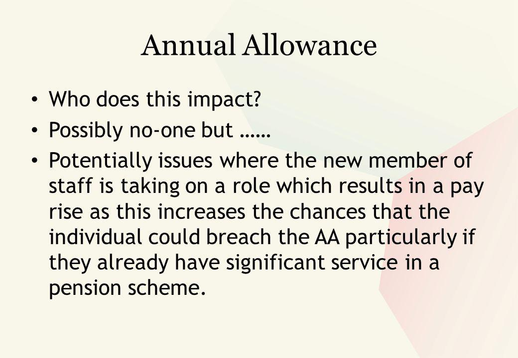 Annual Allowance Who does this impact.