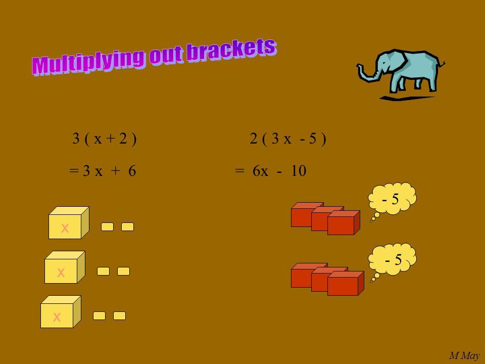 3 ( x + 2 ) = 3 x + 6 2 ( 3 x - 5 ) = 6x - 10 xxx - 5 M May