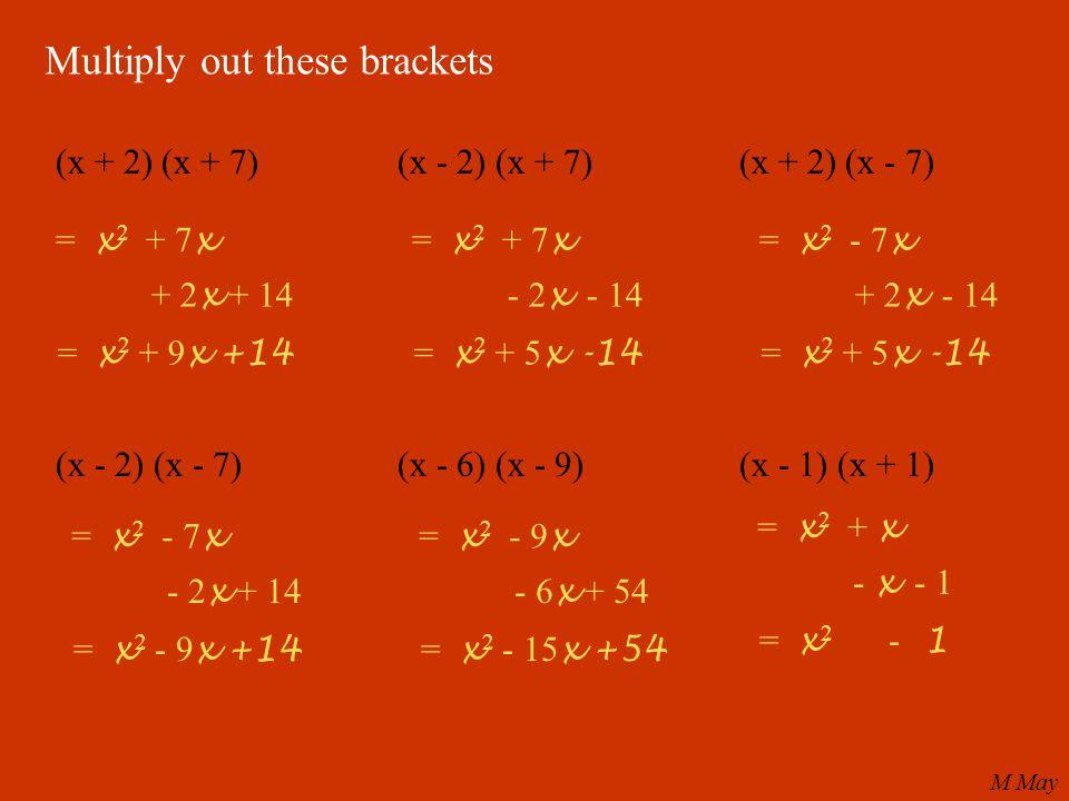 Multiply out these brackets (x + 2) (x + 7)(x - 2) (x + 7)(x + 2) (x - 7) (x - 2) (x - 7)(x - 6) (x - 9)(x - 1) (x + 1) = x 2 + 7 x + 2 x + 14 = x 2 + 9 x +14 = x 2 + 7 x - 2 x - 14 = x 2 + 5 x -14 = x 2 - 7 x + 2 x - 14 = x 2 + 5 x -14 = x 2 - 7 x - 2 x + 14 = x 2 - 9 x +14 = x 2 - 9 x - 6 x + 54 = x 2 - 15 x +54 = x 2 + x - x - 1 = x 2 - 1 M May