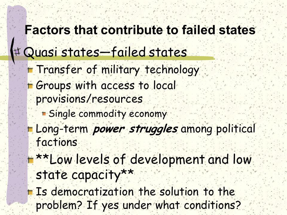 Factors that contribute to failed states Quasi states—failed states Transfer of military technology Groups with access to local provisions/resources Single commodity economy Long-term power struggles among political factions **Low levels of development and low state capacity** Is democratization the solution to the problem.