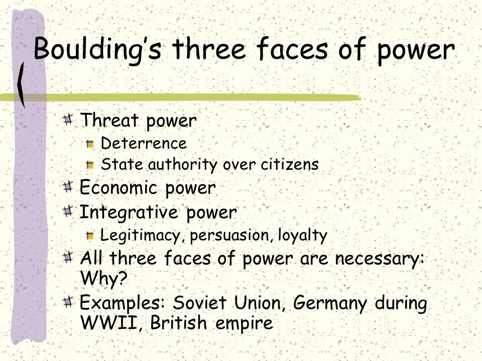 Boulding's three faces of power Threat power Deterrence State authority over citizens Economic power Integrative power Legitimacy, persuasion, loyalty All three faces of power are necessary: Why.