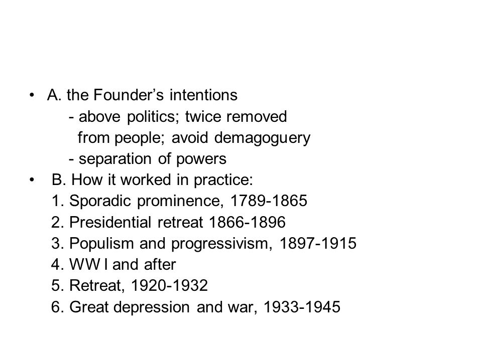 A. the Founder's intentions - above politics; twice removed from people; avoid demagoguery - separation of powers B. How it worked in practice: 1. Spo