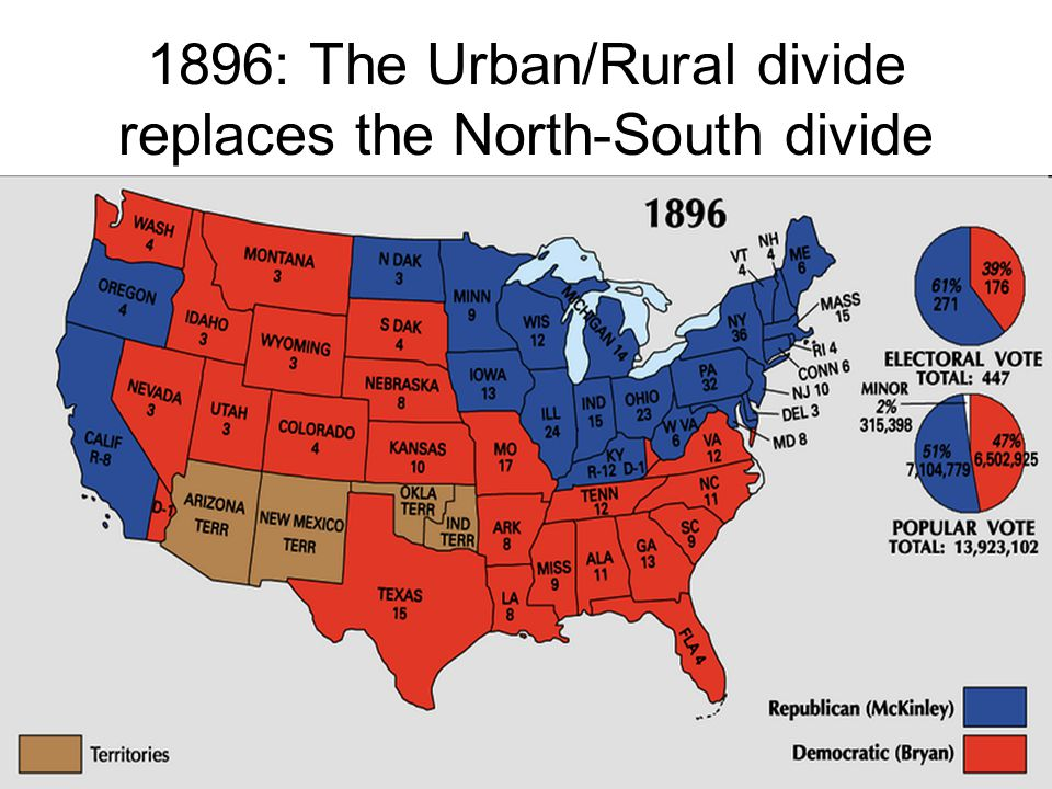 1896: The Urban/Rural divide replaces the North-South divide