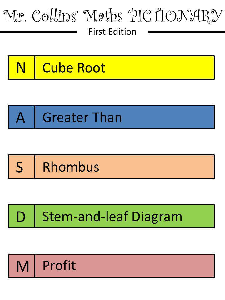 Mr. Collins' Maths PICTIONARY First Edition N A S D M Cube Root Greater Than Rhombus Stem-and-leaf Diagram Profit