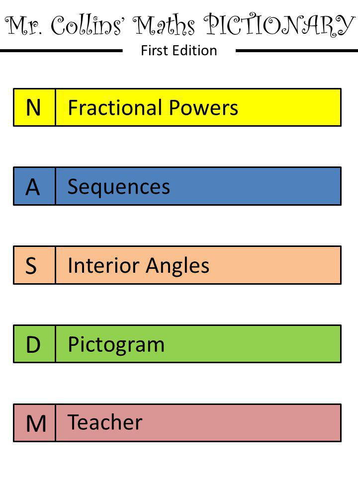 Mr. Collins' Maths PICTIONARY First Edition N A S D M Fractional Powers Sequences Interior Angles Pictogram Teacher