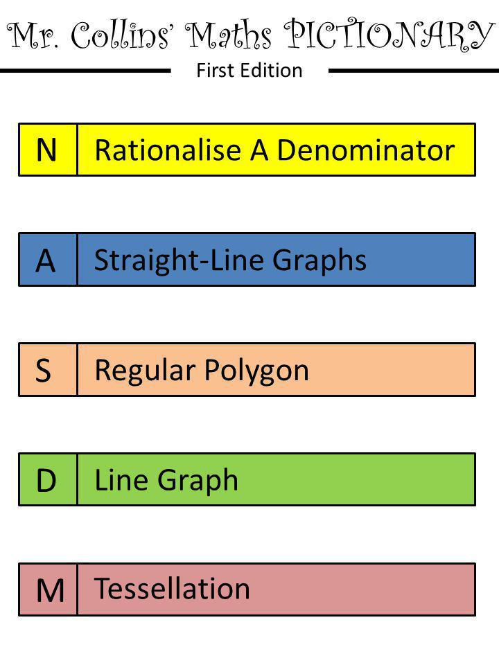 Mr. Collins' Maths PICTIONARY First Edition N A S D M Rationalise A Denominator Straight-Line Graphs Regular Polygon Line Graph Tessellation