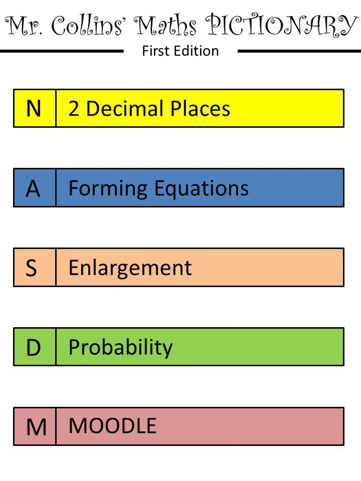 Mr. Collins' Maths PICTIONARY First Edition N A S D M 2 Decimal Places Forming Equations Enlargement Probability MOODLE
