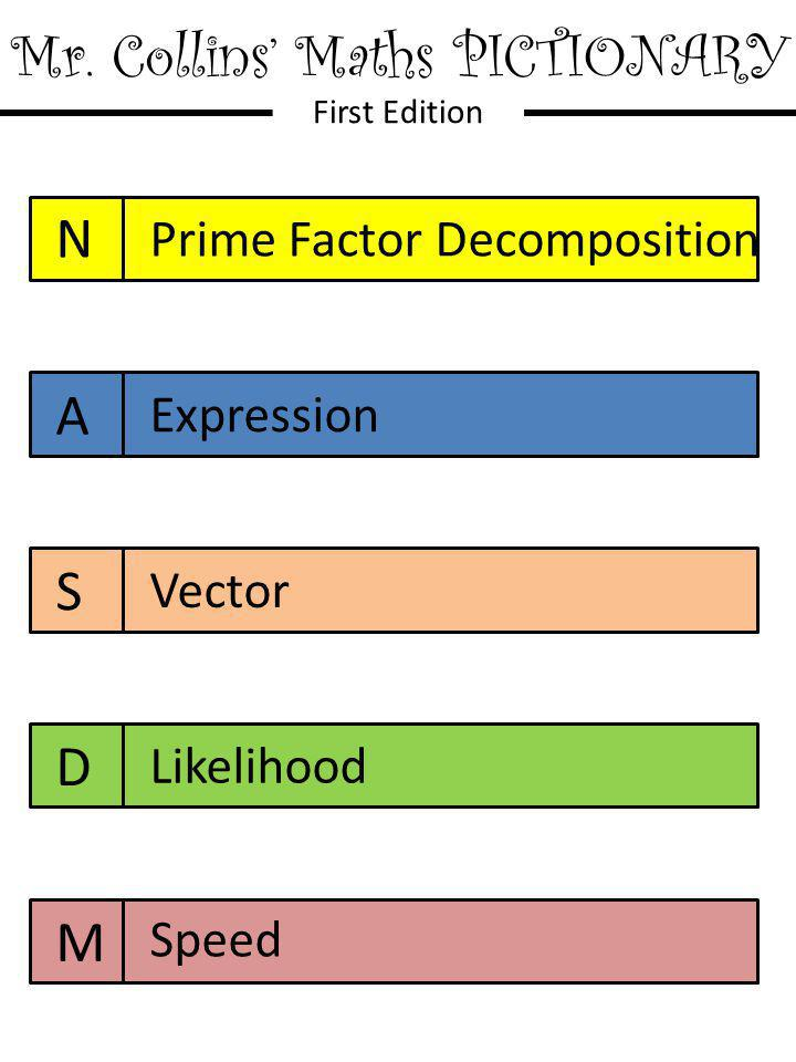 Mr. Collins' Maths PICTIONARY First Edition N A S D M Prime Factor Decomposition Expression Vector Likelihood Speed