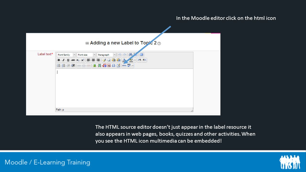 In the Moodle editor click on the html icon The HTML source editor doesn't just appear in the label resource it also appears in web pages, books, quizzes and other activities.