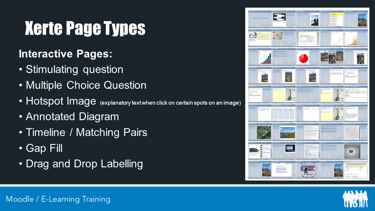 Xerte Page Types Interactive Pages: Stimulating question Multiple Choice Question Hotspot Image (explanatory text when click on certain spots on an image) Annotated Diagram Timeline / Matching Pairs Gap Fill Drag and Drop Labelling